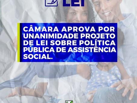 Câmara aprova por unanimidade Projeto de Lei sobre Política Pública de Assistência Social