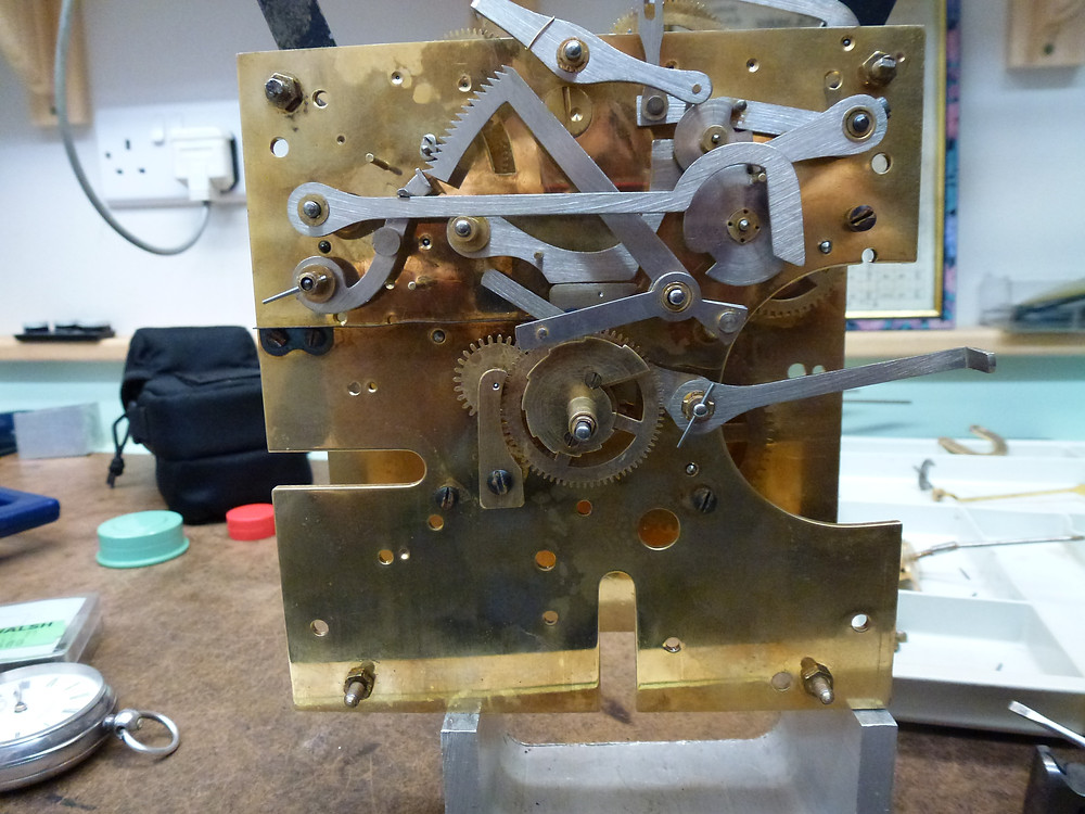 Clock Mechanism partly assembled