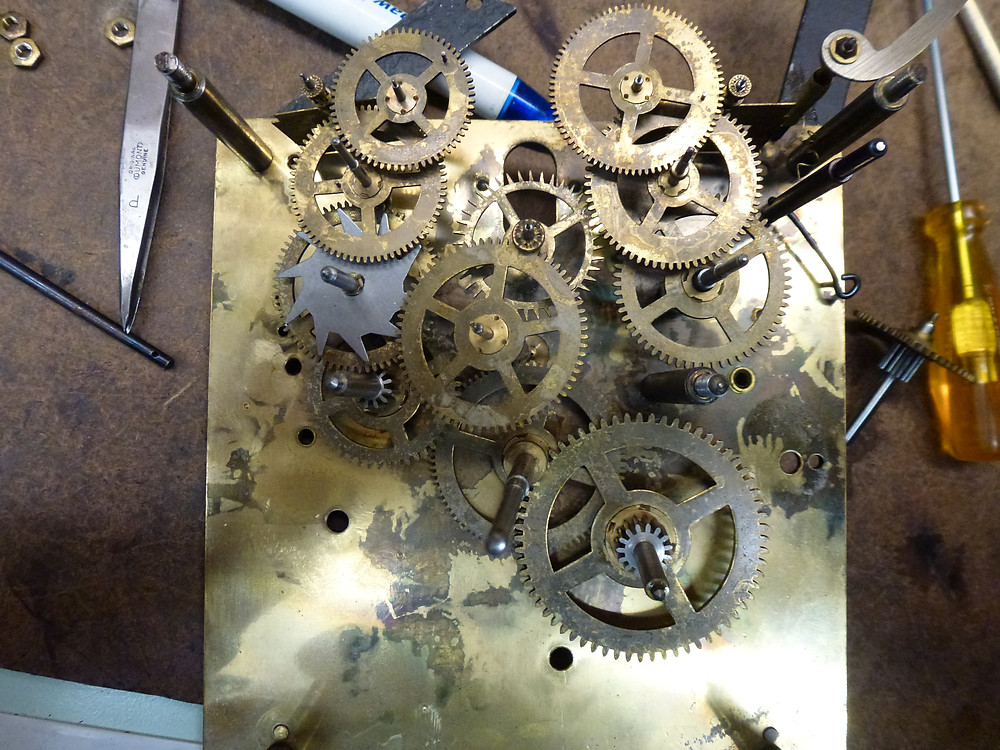 Clock mechanism dismantled