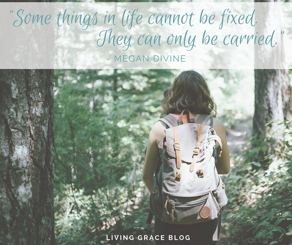 Photo of a woman walking in the woods with a backpack. Superimposed is Megan Divine quote from start of this post.
