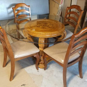 Durable Glass Oak Table