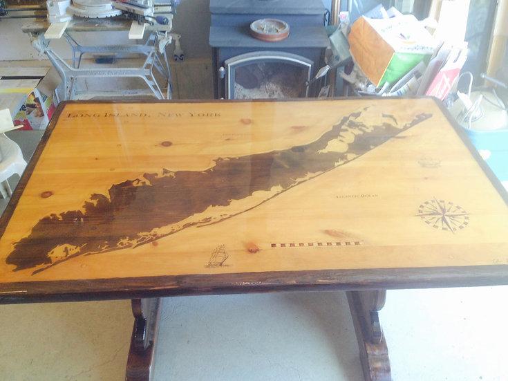 Long Island Map Table (Espresso & Golden Oak) 3x5