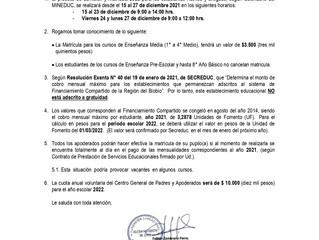 Circular Información Matricula 2022