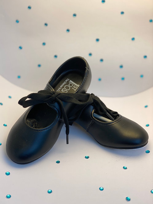 Child's 1st Position Black Low Heel Tap Shoe PU