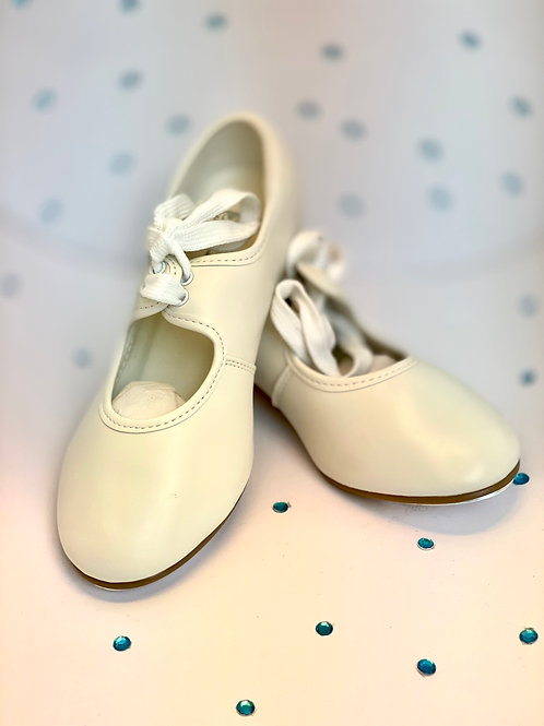 Child's 1st Position Low Heel PU Tap Shoe White