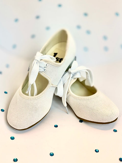 1st Position Low Heel White Canvas