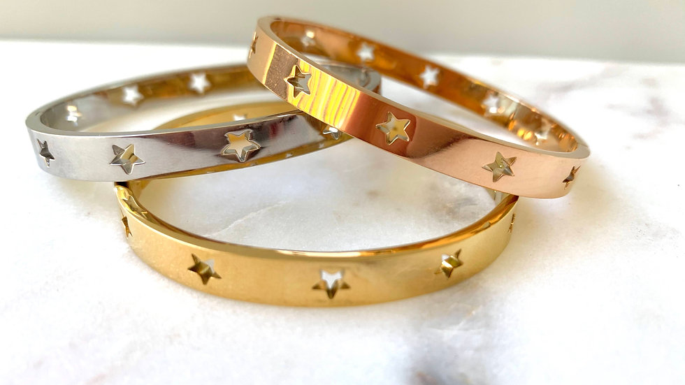 Gold Star Bracelet Gift, Hollow Star Bangle - Stacking Bangle