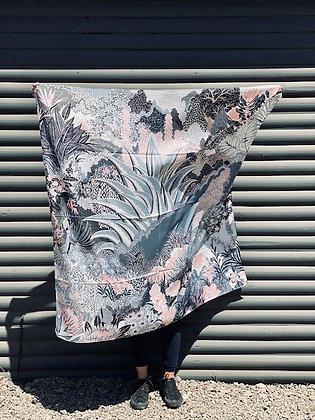 Pañuelo XL tonos gris y rosa