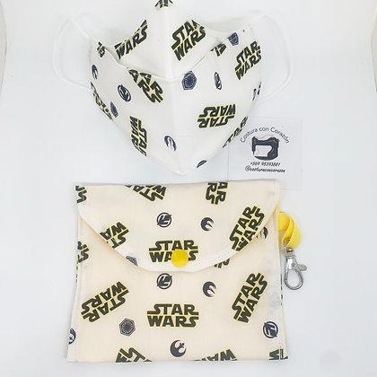 Mascarilla niños con bolsita Star wars