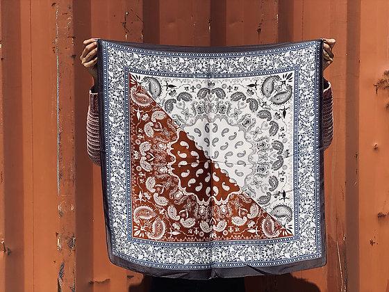 Pañuelo estampado Azul/Terracota