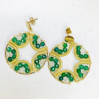 Aros Mandala flor verde dorado