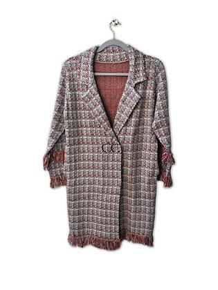 Chaleco/abrigo con flecos gris