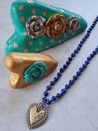 Collar Largo Sagrado Corazón Azul