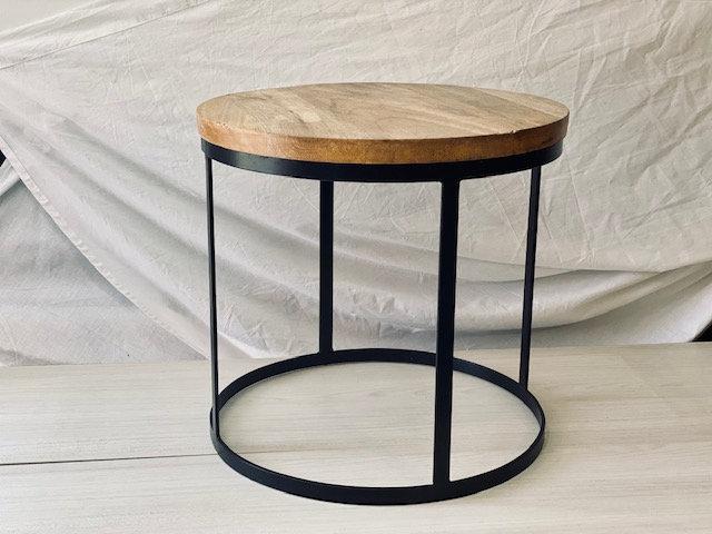 Mesa madera + fierro H:42 cm