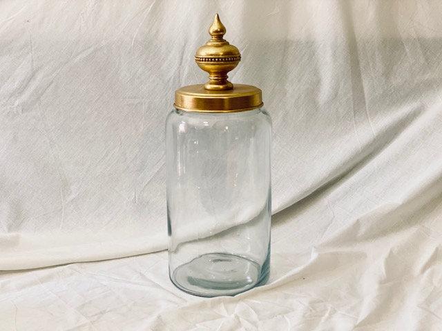 Frasco vidrio XL tapa bolón punta dorado