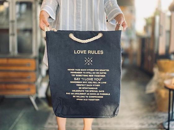 Bolsa Love rules Azul cordón