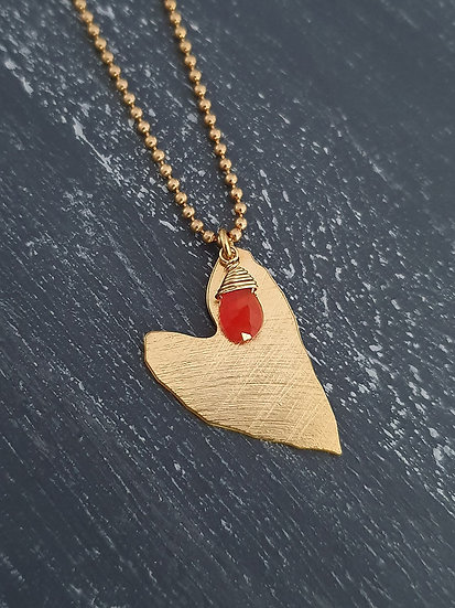 Colla corazón con piedra naranja
