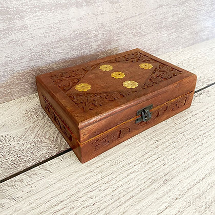 Caja madera india café