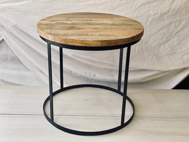 Mesa madera + fierro H:47 cm