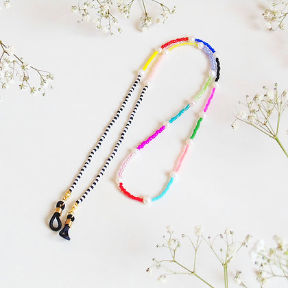 Strap Blanco & Negro mix de colores con perlas de río
