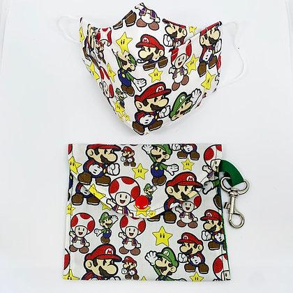 Mascarilla niños con bolsita Mario bros