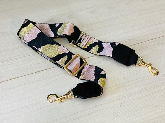 Correa cartera camuflaje dorado rosa