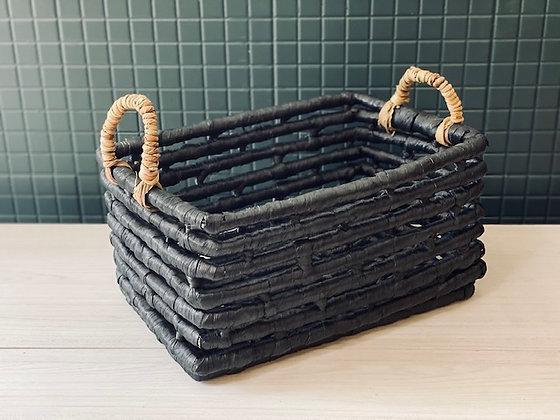 Canasto negro fibra gruesa 40X27 cm