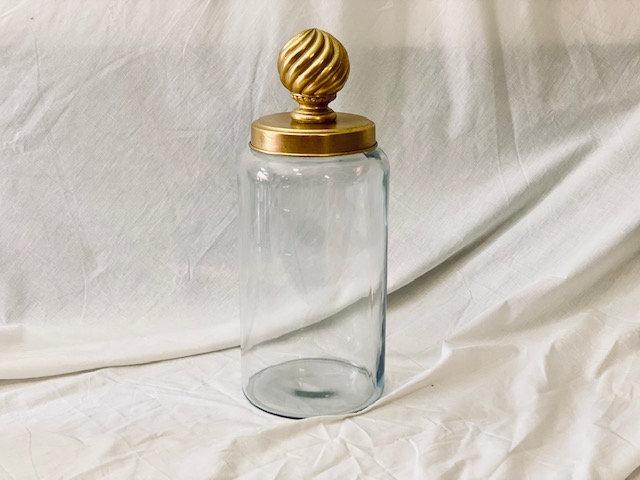 Frasco vidrio XL tapa bolón dorado