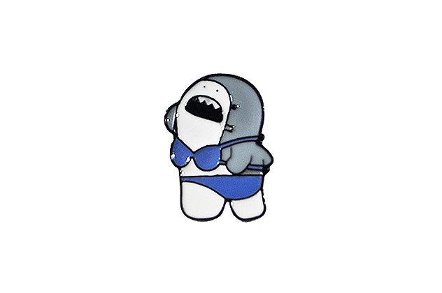 Pin Tiburón traje de baño azul