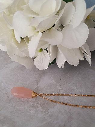 Collar gota natural grande rosa