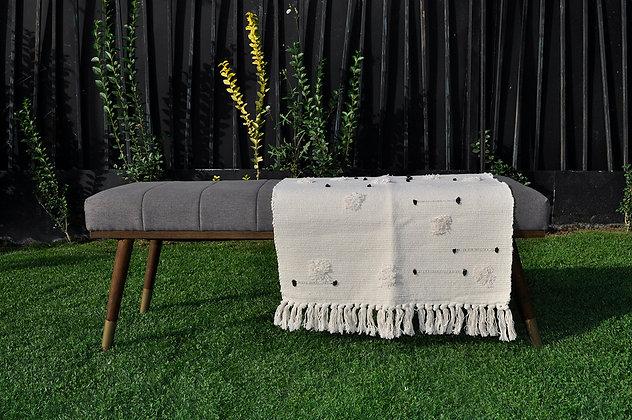 Alfombra algodón 60x90 blanca puntos negros