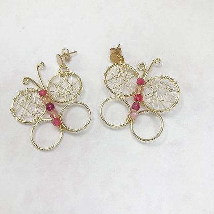Aro Mariposa rosada dorada
