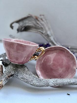Taza + plato rosada dorada