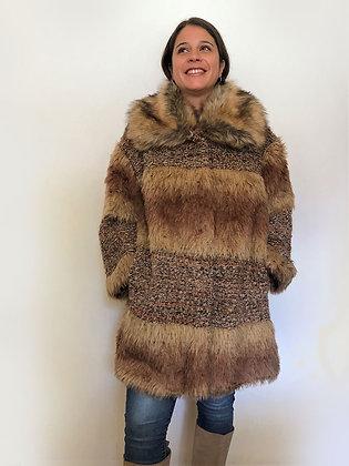 Abrigo mix de lana y piel