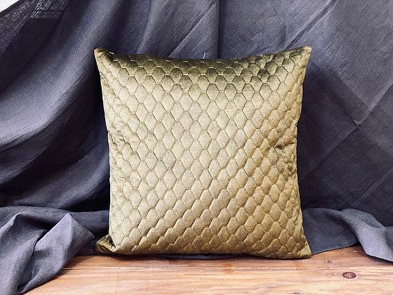 Cojín velvet textura cuadros Verde