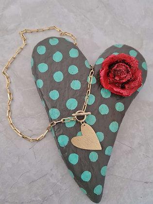 Collar Corazón de Melón Oro