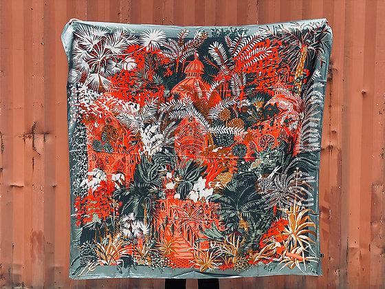 Pañuelo XL ramas verde rojo