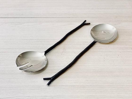 Set cucharas ensalada diseño rama
