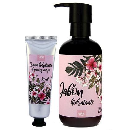 Dúo pack crema de manos y jabón hidratante modelo Polinesia