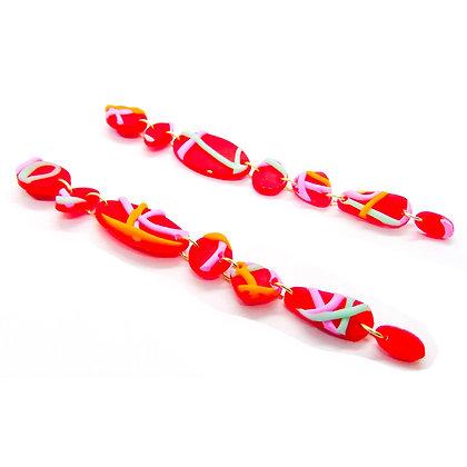Aros Amelia rojo multicolor