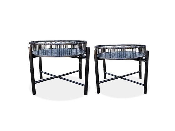 Mesas bamboo negra plegable