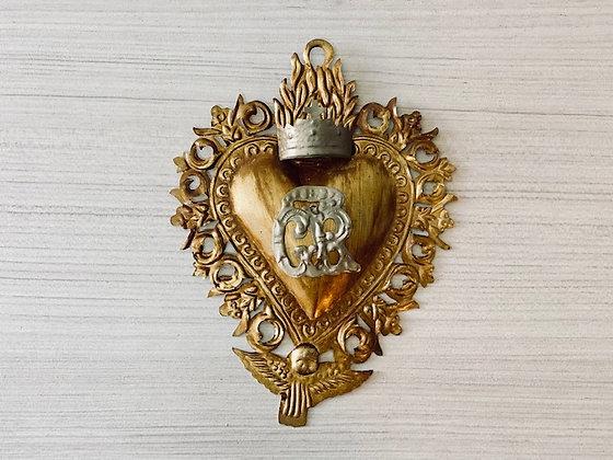 Corazón metal con borde y corona