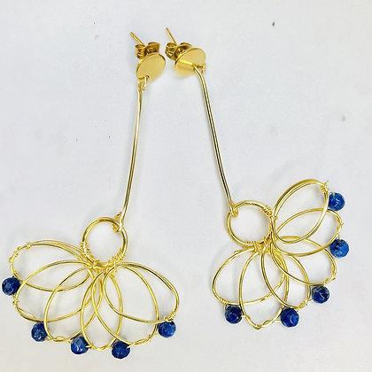 Aros Abanico azul dorado
