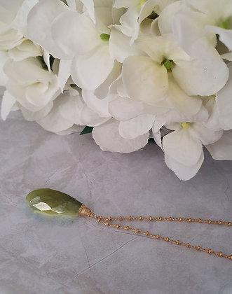 Collar gota natural grande jaspe verde