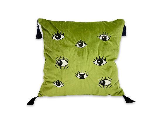 Cojín velvet ojos verde con borlas