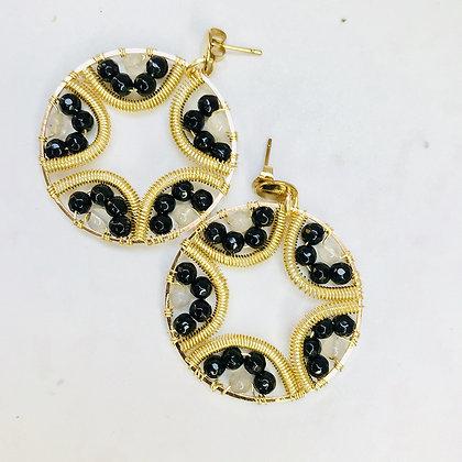 Aros Mandala flor negro dorado