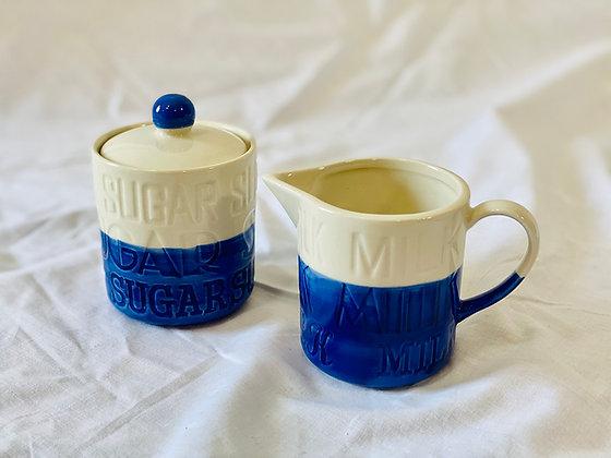 Azucarero & Cremero azul crema