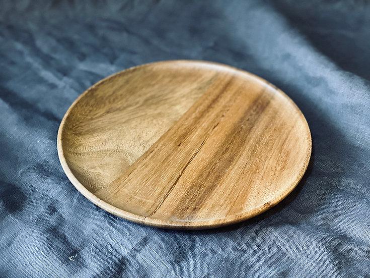 Plato madera redondo chico