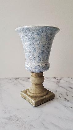 Copón cerámica azul crema