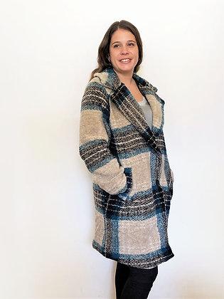 Abrigo escoces azulino de lana